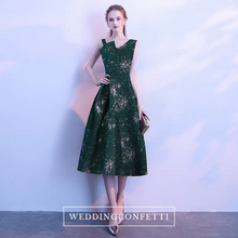 Load image into Gallery viewer, The Reneeta Blue / Green Toga Sleeveless Satin Dress - WeddingConfetti