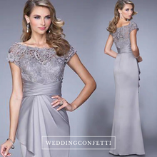 Load image into Gallery viewer, The Raquel Boat Neck Grey Lace Dress - WeddingConfetti