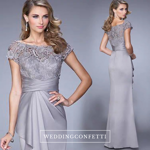 The Raquel Boat Neck Grey Lace Dress - WeddingConfetti