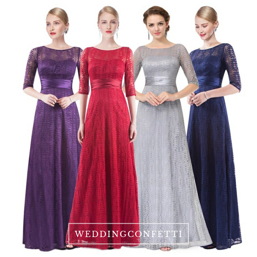 The Bernadette Long Sleeves Lace Dress (Available in 3 colours) - WeddingConfetti