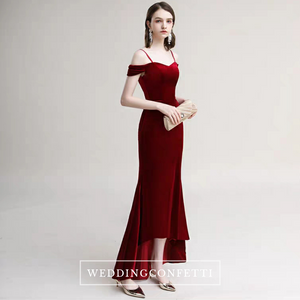The Radienne Red Off Shoulder Gown - WeddingConfetti