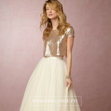 Load image into Gallery viewer, The Caia Wedding Bridal Sequined Crop Top Maxi & Skirt (Customisable) - WeddingConfetti