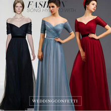 Load image into Gallery viewer, The Amerlie Off Shoulder Evening Gown (Available in 3 colours) - WeddingConfetti