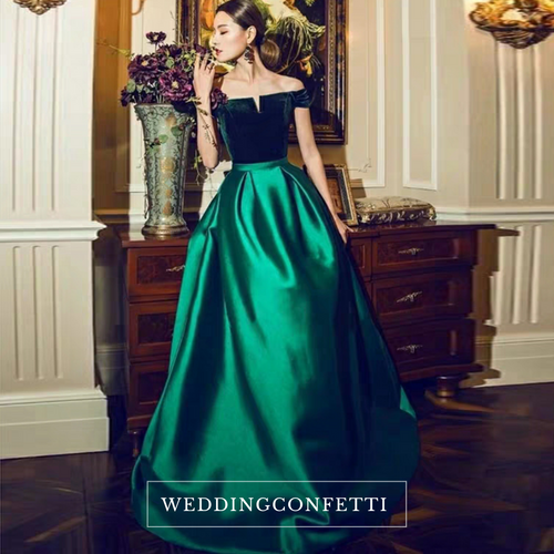 The Cassandra Red / Blue / Green Off Shoulder Gown - WeddingConfetti