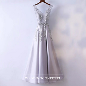 The Kaia Grey Sleeveless Lace Embroidered Gown - WeddingConfetti