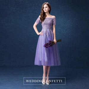 The Jermeline Purple Off Shoulder Lace Embroidery Gown - WeddingConfetti