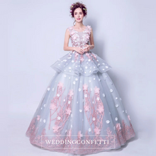 Load image into Gallery viewer, The Fleurenda Pink and Grey Flare Sleeves Gown - WeddingConfetti