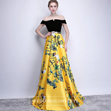 Load image into Gallery viewer, The Reianie Black & Yellow /  Red Off Shoulder Gown - WeddingConfetti
