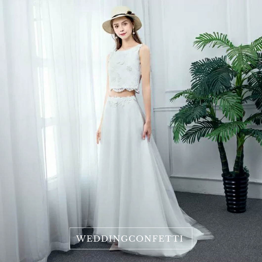 The Eartha Wedding Bridal Crop Top Maxi & Skirt (Customisable) - WeddingConfetti