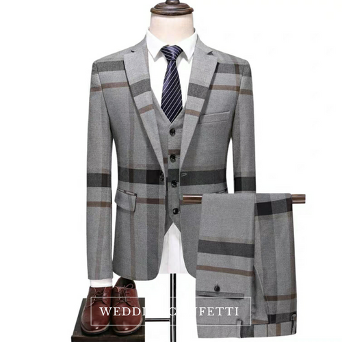 Orlando Men's Checkered Grey Suit Jacket, Vest and Pants (3 Piece) - WeddingConfetti
