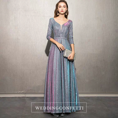 The Cailey Iridescent Long Sleeves Gown (Available in 4 colours) - WeddingConfetti