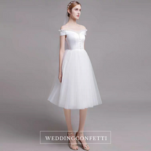 Load image into Gallery viewer, The Alessia Short White Off Shoulder Gown - WeddingConfetti