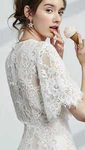 The Azalea Short Sleeve Lace Dress - WeddingConfetti