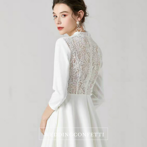 The Rochelle Short Lace Back Gown - WeddingConfetti