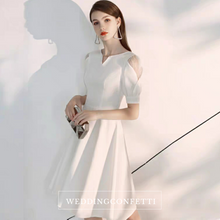 Load image into Gallery viewer, The Brooklyn White Short Sleeves Dress - WeddingConfetti