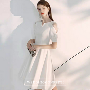 The Brooklyn White Short Sleeves Dress - WeddingConfetti