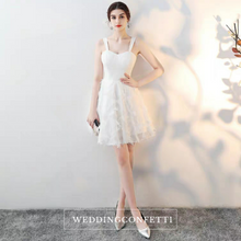 Load image into Gallery viewer, The Abby White / Black Feathered White Dress (Available in 3 Different Lengths)