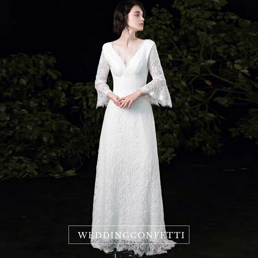 The Ophelia Wedding Bridal Trumpet Sleeves Lace Gown