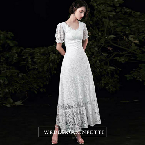The Tetrine Wedding Bridal Short Sleeves Lace Gown