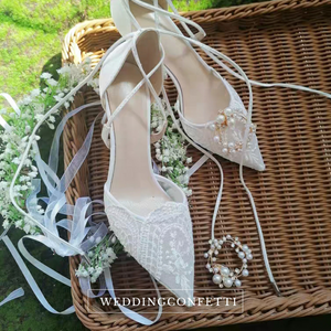 The Garden Wedding Lace Tie Heels
