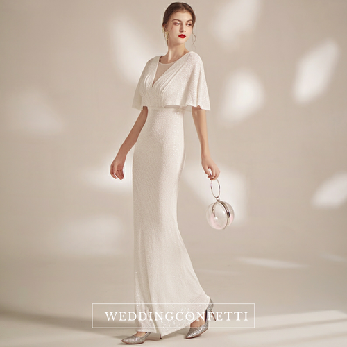 The Serena Off White Flare Sleeves Gown