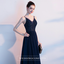 Load image into Gallery viewer, The Ryona Navy Blue Sleeveless Gown