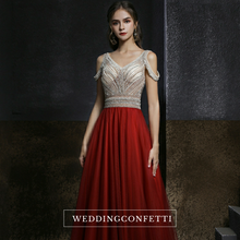 Load image into Gallery viewer, The Shelby Red Off Shoulder Gown (Available in 2 colours)