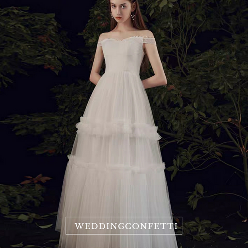 The Perseus Wedding Bridal Off Shoulder Gown
