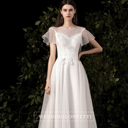 The Perla Wedding Bridal Cap Sleeves Gown