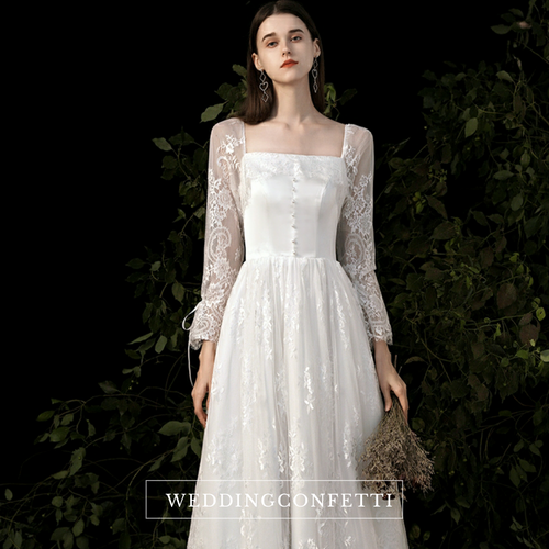The Polliana Wedding Bridal Illusion Sleeves Gown