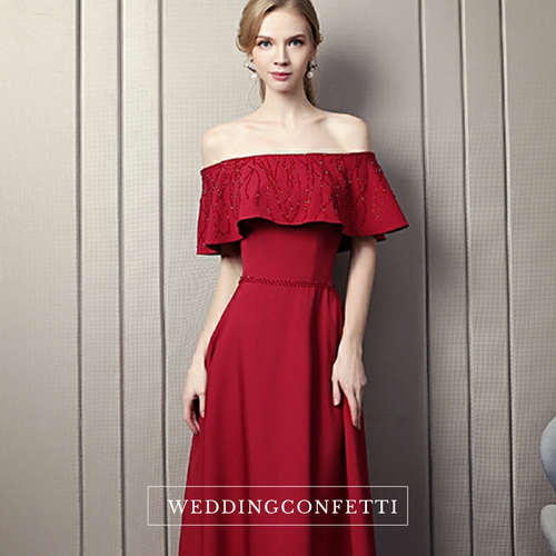 The Kermelia Red Off Shoulder Gown