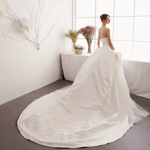 The Izzey Wedding Bridal Satin Tube Gown - WeddingConfetti