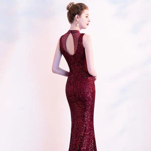 The Anna Marie High Collar Wine Red Sleeveless Gown - WeddingConfetti