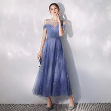 Load image into Gallery viewer, The Queenie Blue Illusion Sleeves Off Shoulder Midi Dress - WeddingConfetti