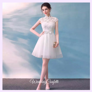 The Laurentia White Mandarin Collar Short Tulle Dress - WeddingConfetti