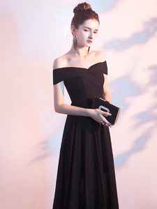 The Layleen Black Off Shoulder Dress - WeddingConfetti