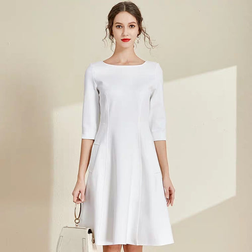 The Lisa Off White Short/Long Sleeves Round Neck Dress - WeddingConfetti