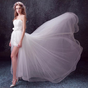 The Oriana White Lace Tube Dress (With Detachable Trail) - WeddingConfetti