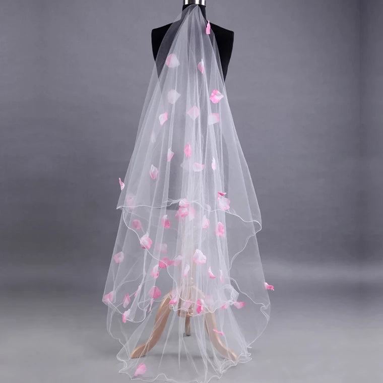 Wedding Bridal Veil With Pink Petals - WeddingConfetti