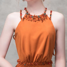 Load image into Gallery viewer, The Clementine Orange Sleeveless Halter Gown - WeddingConfetti