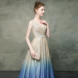 The Katrina Sleeveless Champagne Ombre Gown - WeddingConfetti
