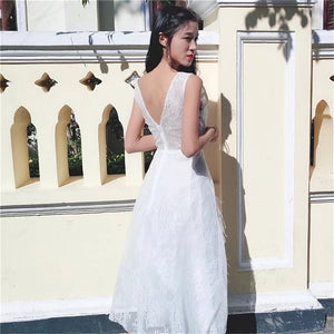 The Derlaine White / Black Sleeveless Gown - WeddingConfetti