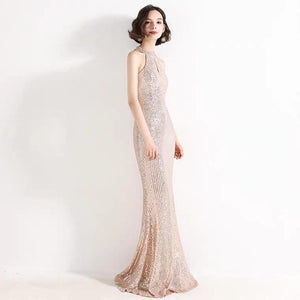 The Lilian Gold Sequined Halter Gown (Available in 2 colours) - WeddingConfetti
