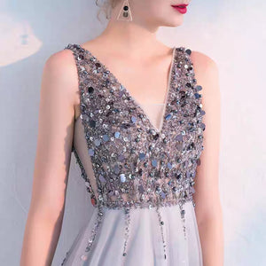 The Sophiela Glittery Sleeveless Grey Sequins Gown (Available in 2 colours) - WeddingConfetti