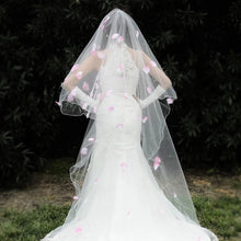 Load image into Gallery viewer, Wedding Bridal Veil With Pink Petals - WeddingConfetti