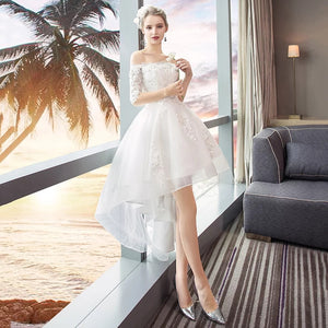 The Ryndel Off Shoulder High Low Gown (Available in long and short sleeves) - WeddingConfetti