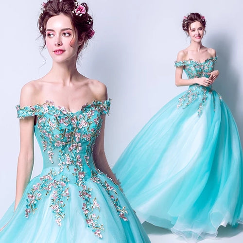 The Rynbitha Off Shoulder Tiffany Green Gown - WeddingConfetti