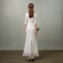 Load image into Gallery viewer, The Elyse Red / White Cheongsam Mandarin Collar Dress - WeddingConfetti