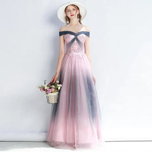The Amelia Off Shoulder Ombre Gown - WeddingConfetti