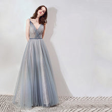 Load image into Gallery viewer, The Cara Ombre Greyish Blue Sleeveless Gown